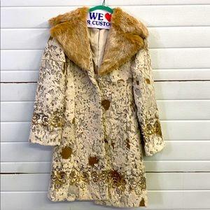 Bebe Rabbit fur brocade coat. XS